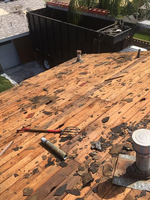 "Rancho Cucamonga, CA - This customer reached out because they needed a new roof. They wanted us to remove the existing wood shake & 2 Comp sections and Install 7/16 OSB plywood and up to 40LF of 2""x6"" Fascia."