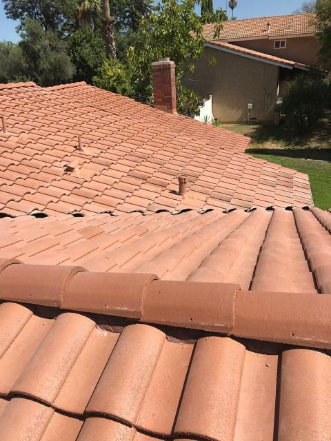 Redlands, CA - Later we supplied and installed O'hagin vents for proper intake and exhaust. Then finally we installed new Standard Weight Concrete Tile.