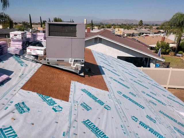 Menifee, CA - This customer wanted new shingles, so we started by removing three layers of composition roofing and then installing 1 layer of Titanium UDL30 Owens Corning Standard Pitch.
