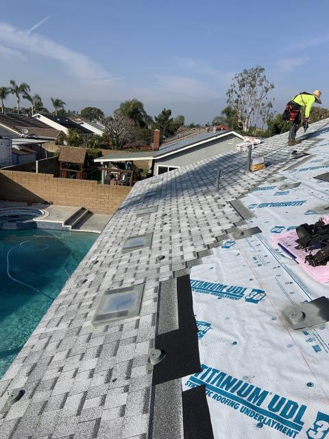 Chino, CA - We started this process by remove up to two layers of composition roofing. Then installing ice & water shields at crucial areas and a layer of Fontana Felt Paper Standard Pitch.