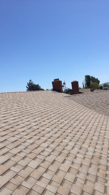 Riverside, CA - Re-roof using BR - Owens Corning Weather Lock - Ice and Water Shield Self-Sealing, Owens Corning Tru Def Duration Sure Nail Shingle Roof System - Cool Roofing,  Amber