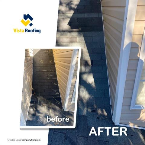 Lexington, SC - Dormer leak repair.  Found there was no flashing at the corner post.  Installed ice & water shield, new flashing and new shingles.