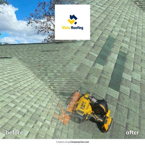 Lexington, SC - Roof repairs completed before the rain came in.  Give Vista Roofing Inc a call for all your roofing repairs, replacements, questions and concerns.