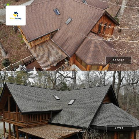 Little Mountain, SC - A amazing before/after photo of a new roof installation done by Vista Roofing out in beautiful Little Mountain, SC!