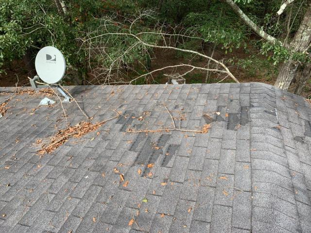 Swansea, SC - Living under a canopy of trees is nice, but dropping limbs can take a toll on your roof. Many times this damage goes unseen until it's too late. Give us a call at Vista Roofing for a no cost no obligation roof consultation and we can tell you exactly what's going on up on top of your home!