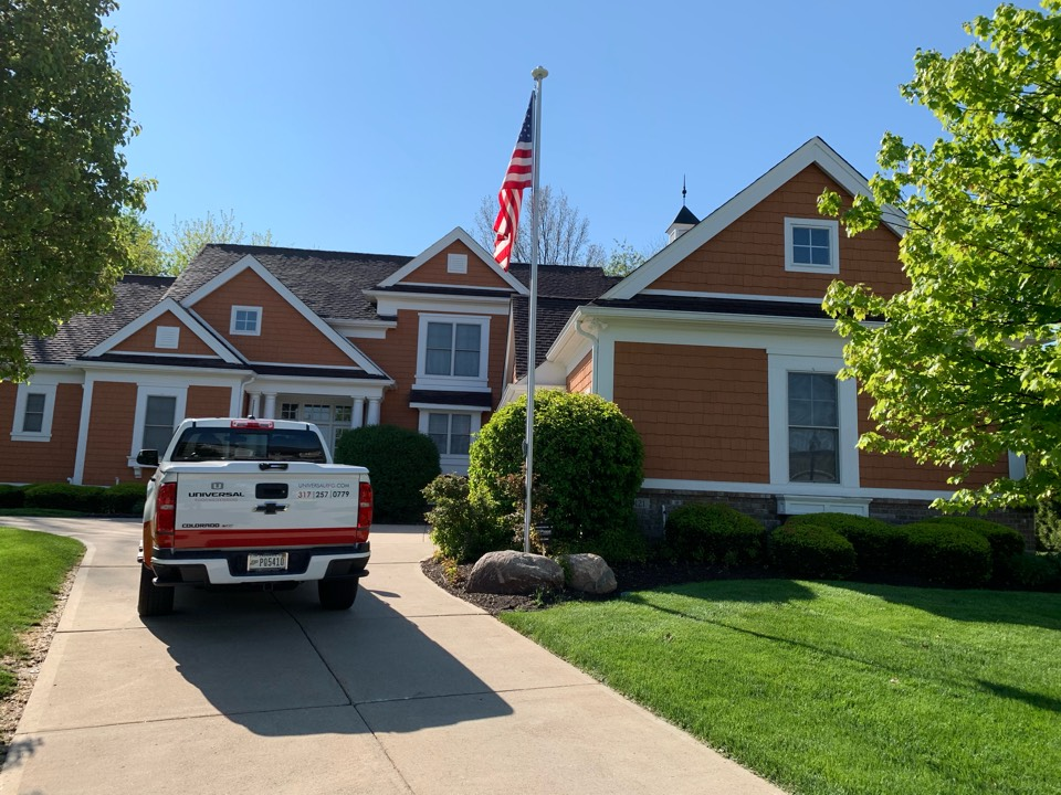 Carmel, IN - Home may have damage due to recent hail. Evaluating roof, siding, and gutters.