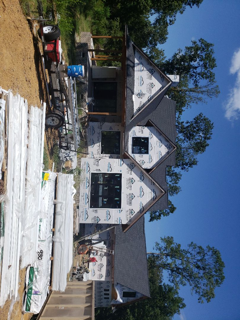 Dalton, GA - Today our crew is beginning a new job here in Dalton, ga. This is a new construction project. We are using James Hardie fiber cement siding products on the entire exterior. Also installing beautiful 1x6 beaded pine ,stained pre installation, porch ceilings.  Along with  24 6x6 columns on a very large area of exterior porches. i will  continue to checking in with progress on this project