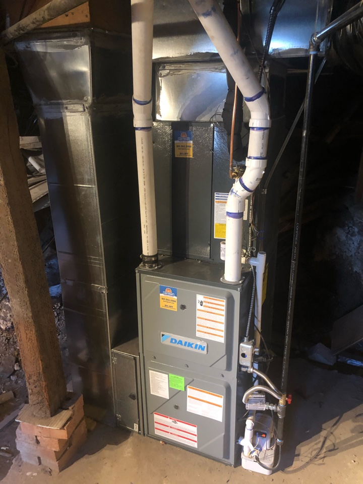 North Ogden, UT - Replacing 75 year old furnace. With a brand new high-efficiency daikon furnace and air conditioner!