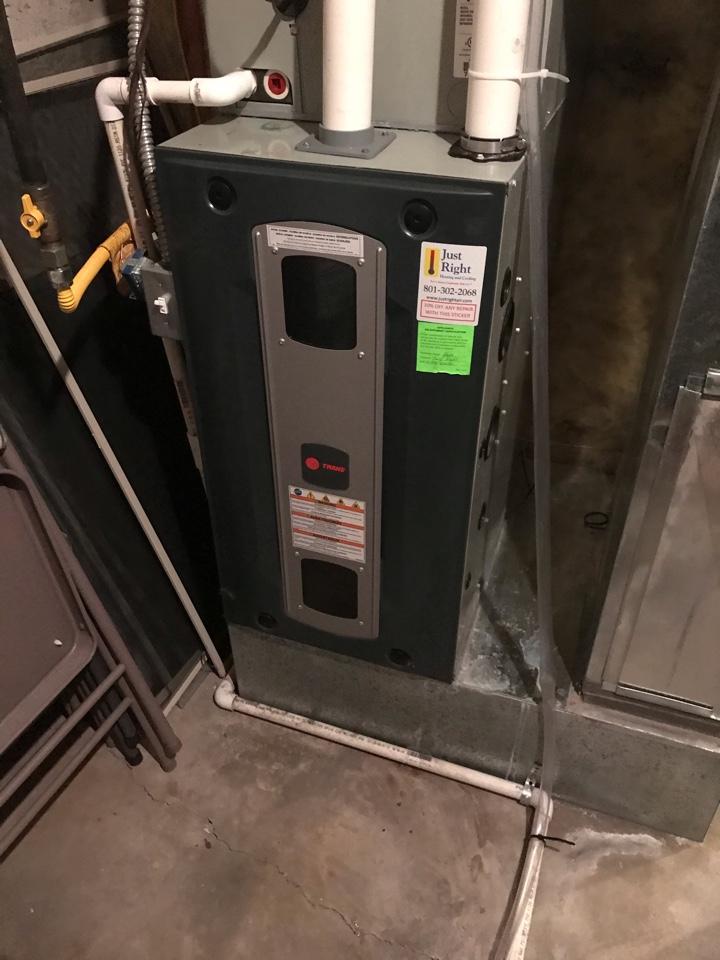 South Jordan, UT - Service Trane furnace with Nexia thermostat.