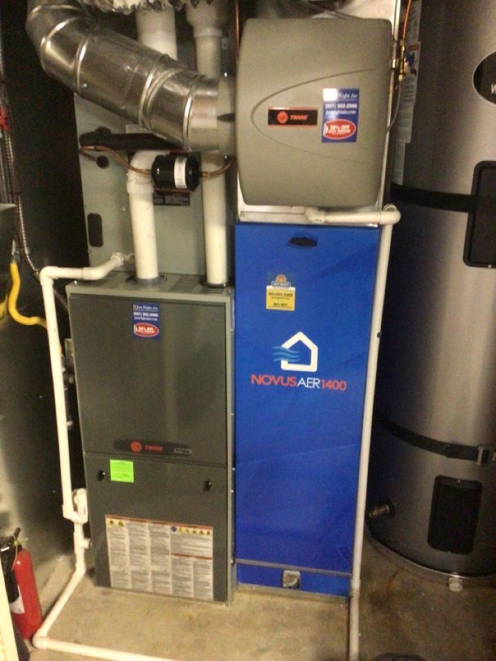Farmington, UT - Annual maintenance on Trane furnace with Novusaer filter.