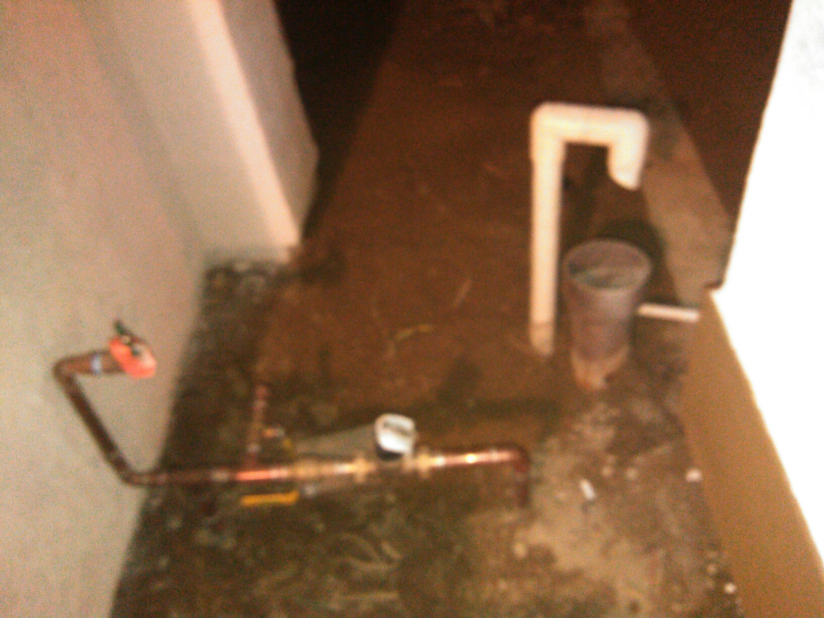 Diamond Bar, CA - Copper water line repair with PVC pool drain riser into 3 inch cast  p trap drain