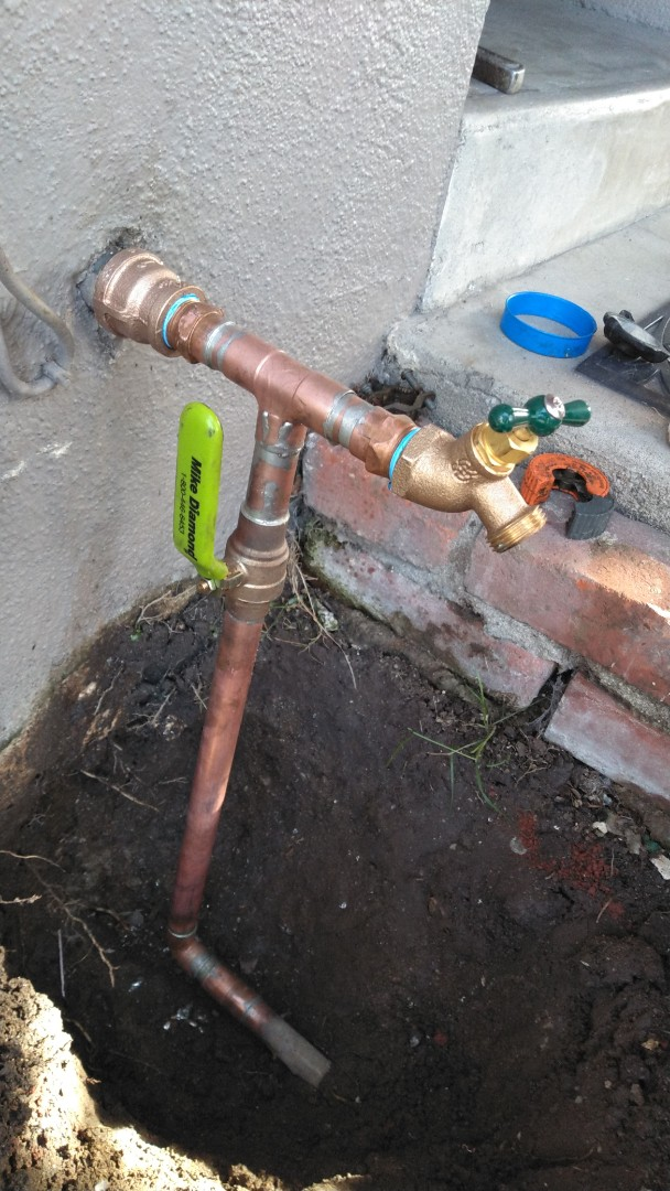 San Gabriel, CA - Installed new copper riser with ball valve and hose bibs feeding back section