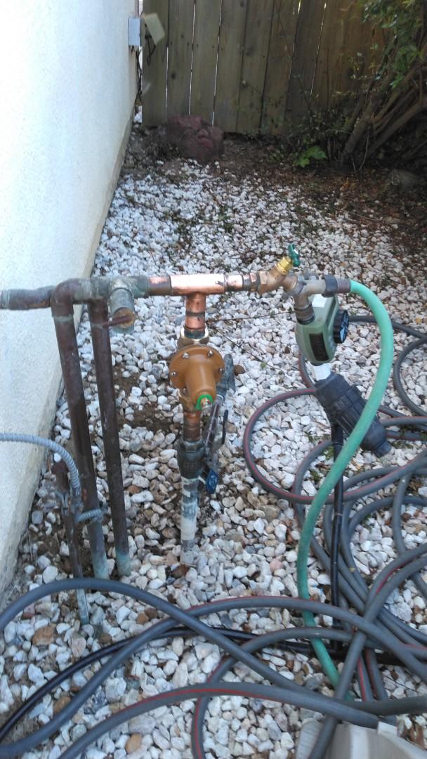 Installed new 1 inch water pressure regulator with new hose bibb