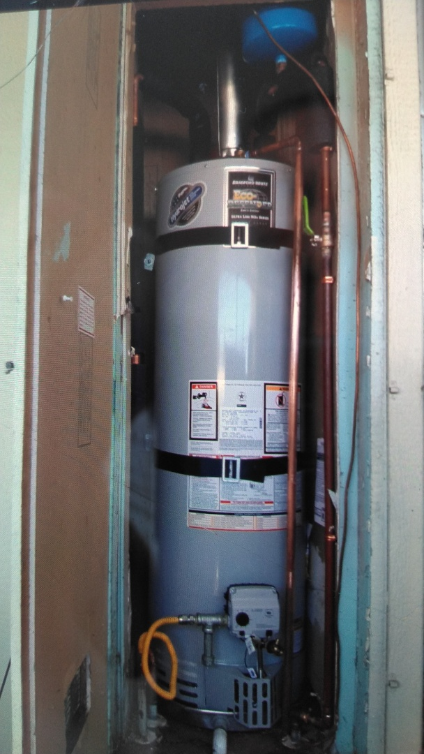 Pomona, CA - Installed new 40 gallon slim line water heater Mobil home type