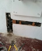 Rancho Palos Verdes, CA - Replaced Santee in the wall, installed accessible cleanout, patched stucco wall