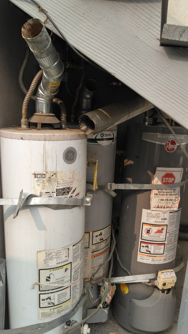 Pomona, CA - Cleared out shower stoppage and estimate to bring apartment water heaters up to code