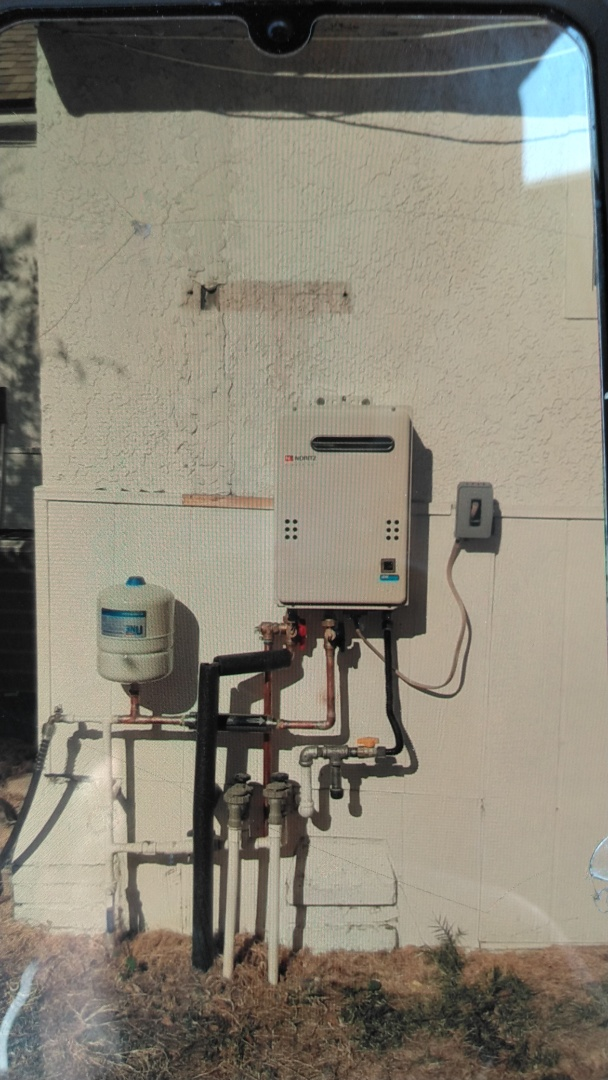 Pomona, CA - Installed new Noritz tankless unit with expasion tank new RX descaler water filter