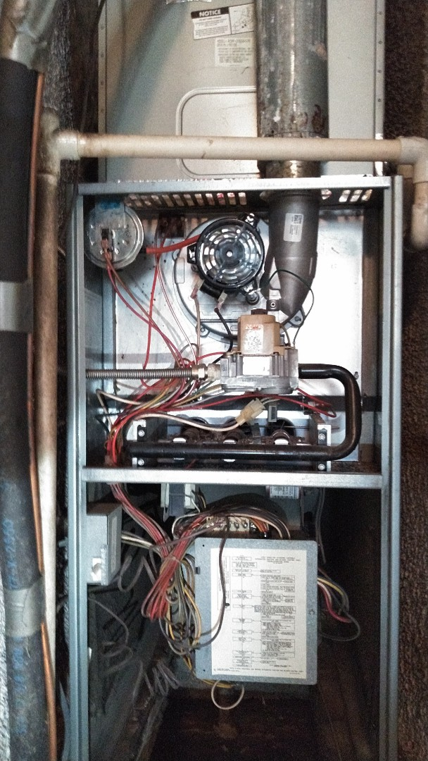El Monte, CA - Upflow furnance repair new induce draft motor and new pressure switch