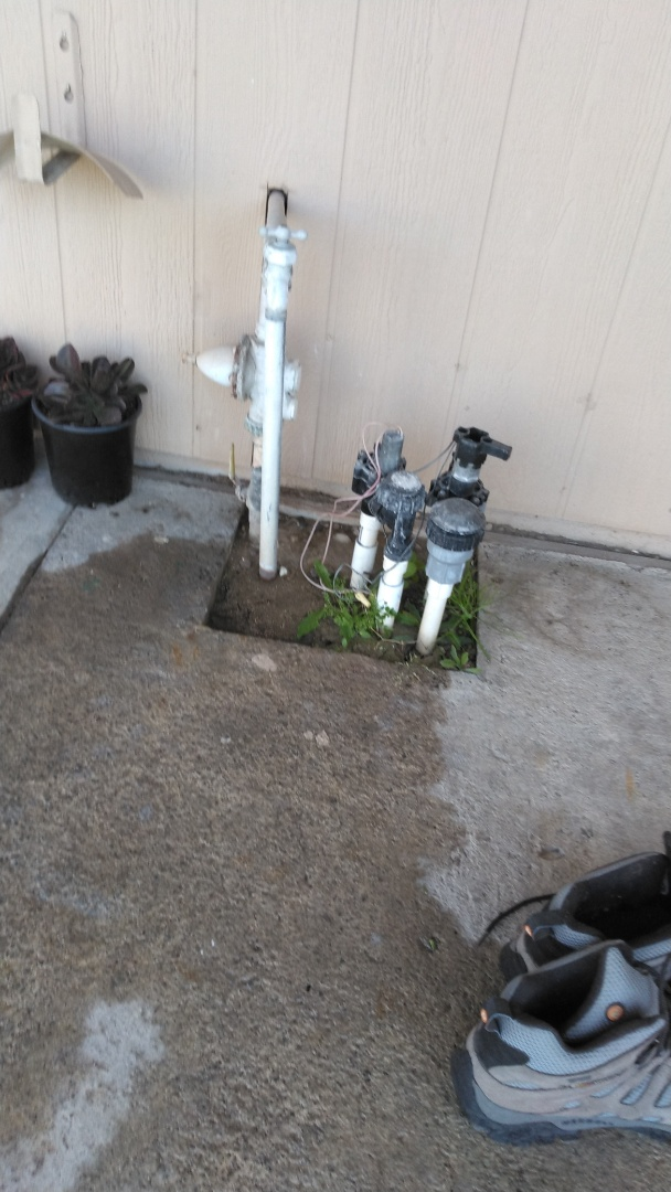 Ontario, CA - Left estimate to install new water pressure regulator and redue irrigation water line connection in schedule 40 pvc due to existing galvanized pipe material connected to copper it's causing electrolosis and rust build up inside water lines
