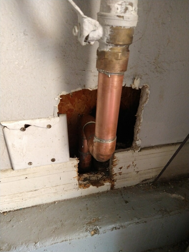 Fullerton, CA - Repaired copper water leak in garage wall