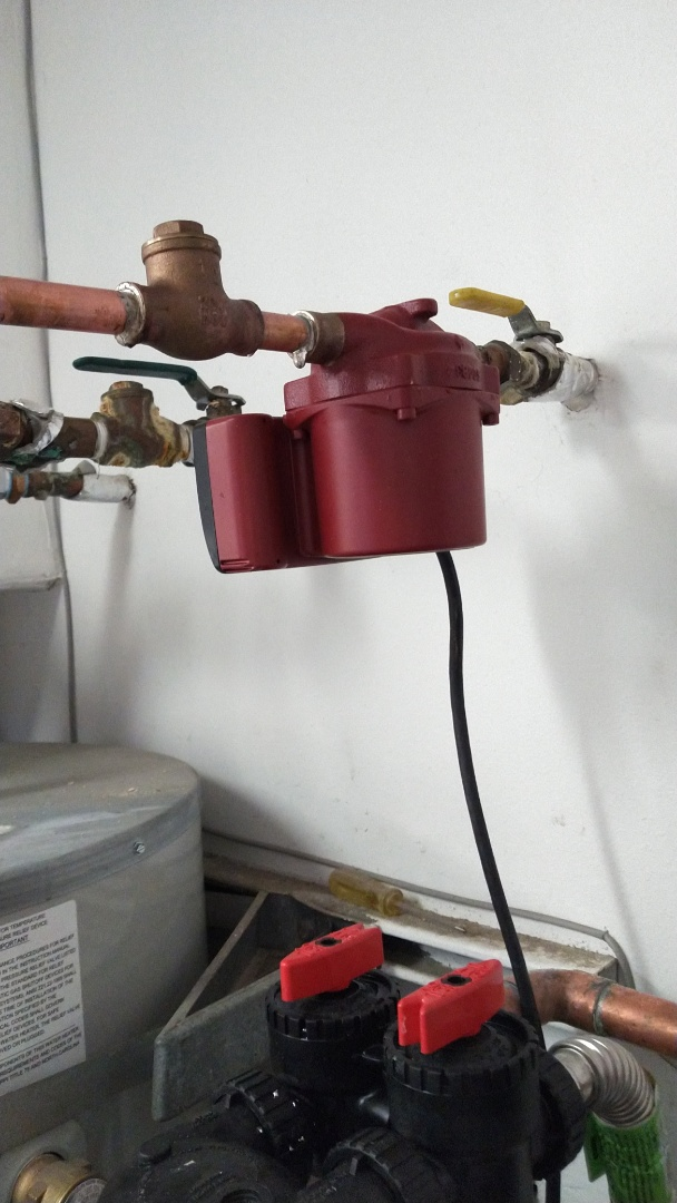 Recirculating pump with back flow for water heater