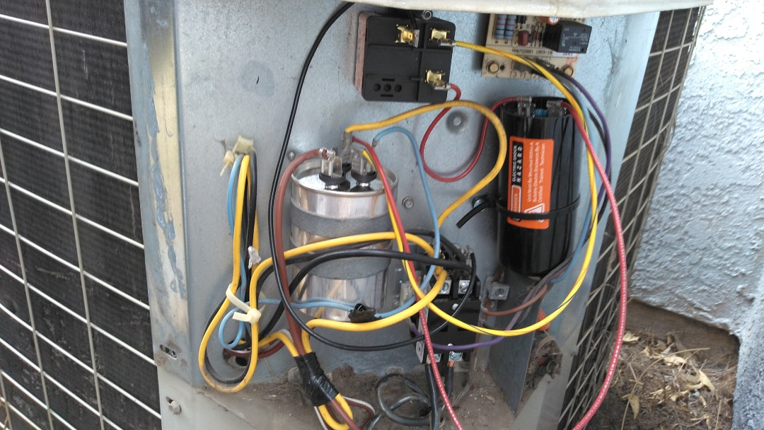 Repair AC unit with new dual capacitor, new contacter, new hard start  and new condenser motor.