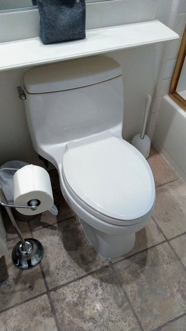 Re install upstairs hallway bathroom toilet.