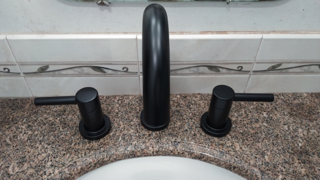 Install new wife spread lavatory faucet in the master bathroom.