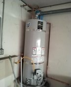 Installed new water heater,T&P discharge line, Expansion Tank,wire bonding, sediment trap.