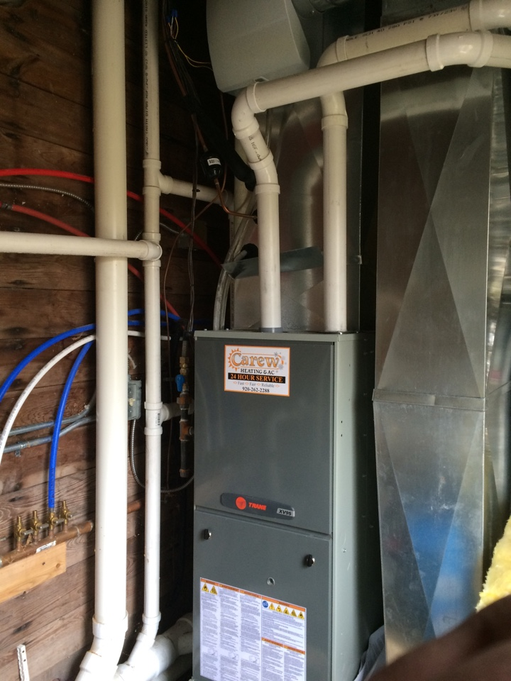 Hartland, WI - No heat service call. Trane XV95 2-stage furnace not operating properly. Was able to fix under warranty. Aprilaire humidifier cleaned as well.