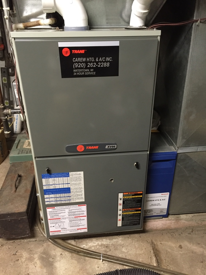 Marshall, WI - Percision tune up of Trane xv95 furnace with Honeywell media filter.