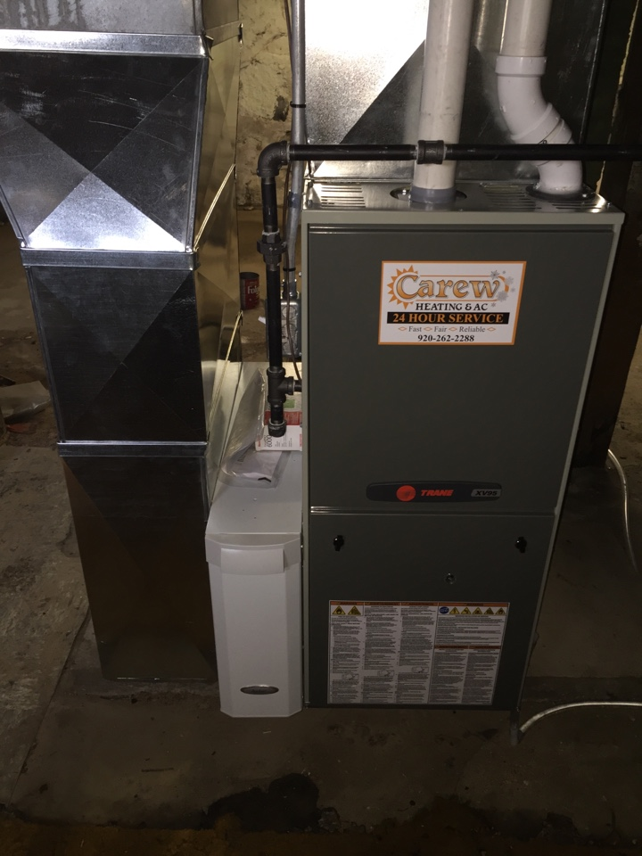 Marshall, WI - Completed new furnace installation of a Trane