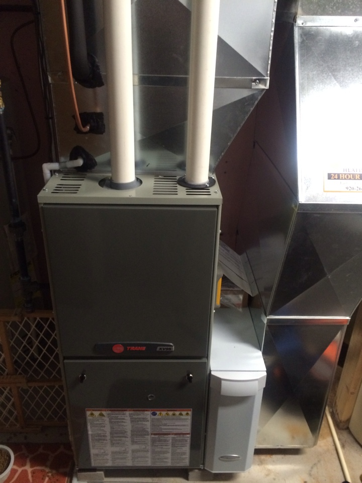 Beaver Dam, WI - Installed a new trane XV 95 two-stage Hi efficient furnace with a trane air-conditioner and ran new gas line also to switch over from LP to natural gas