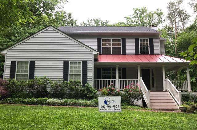 Manassas, VA - Completed a GAF Timberline HD roof, with colonial red aluminum standing seam metal roof at front porch.