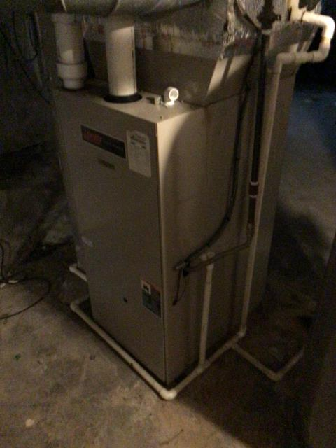 """Lebanon, OH - I gave an estimate to replace a Lennox gas furnace (see picture below) and AC unit.  I recommend replacing it with a Five Star 96% 100,000 BTU Gas Furnace 2.5T 14"""" and a Five Star 16 SEER 3.5 Ton Air Conditioner.  Included in the estimate is a 1 year free service maintenance agreement."""