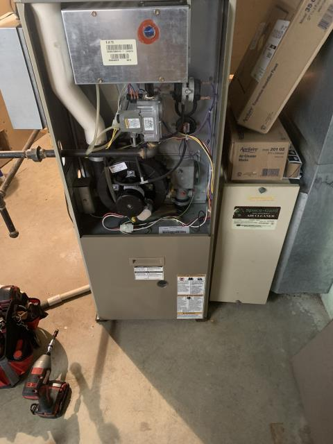 Cincinnati, OH - I completed a fall tune up on an Armstong gas furnace.  I visually inspected the unit.  Checked voltages, amps and pressures.  The inducer motor capacitor was low.  I gave the client an estimate to replace.  Client authorized repairs.  I replaced the inducer motor capacitor.  Completed combustion analysis.  I found that the flue was leaking.  I re-sealed at the joints.  Cycled and monitored system.  Operating normally at this time.