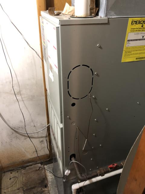 Lebanon, OH - I pulled and cleaned the flame sensor but was unable to get it to read within specifications. The propane furnace and flame sensor are starting to get pitted. Customer does not want to replace at this time.