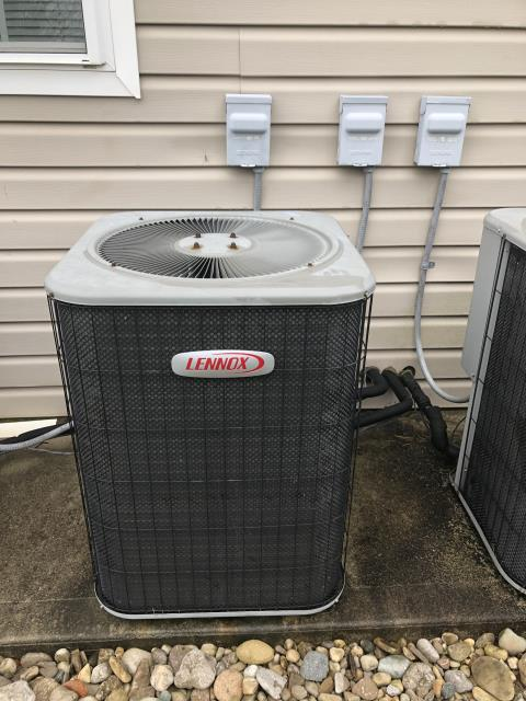 Maineville, OH - I performed a tune up and safety check on a Lennox air conditioner.  I found that the return air filter was dirty and needed replaced.  I replaced the compressor-motor surge capacitor as well.