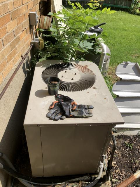 Cincinnati, OH - I performed a diagnostic on a Goodman air conditioner.  I found that the system was overcharged so I removed about 1 lb of refrigerant.  I also found that the dual capacitor and blower capacitor were failing and needed replaced.  The customer declined any further repairs.