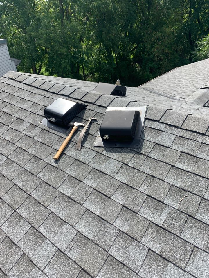 Maple Grove, MN - A client from 5 years ago called about a leak during a heavy wind driven rain storm. I inspected the roof, I inspected the attic. I believe the culprit was a vent that was taking in a small amount of wind driven heavy rain. No guarantees that replacing the vent that has no visible defects will fix and keep water from entering during wind driven rain. Yet I decided to replace the vent. Sometimes vents can leak, especially during the perfect storm. We stand behind our work. GAF MASTER ELITE.
