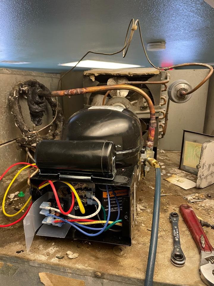 San Marcos, TX - Replace compressor on 3 door reach in cooler.