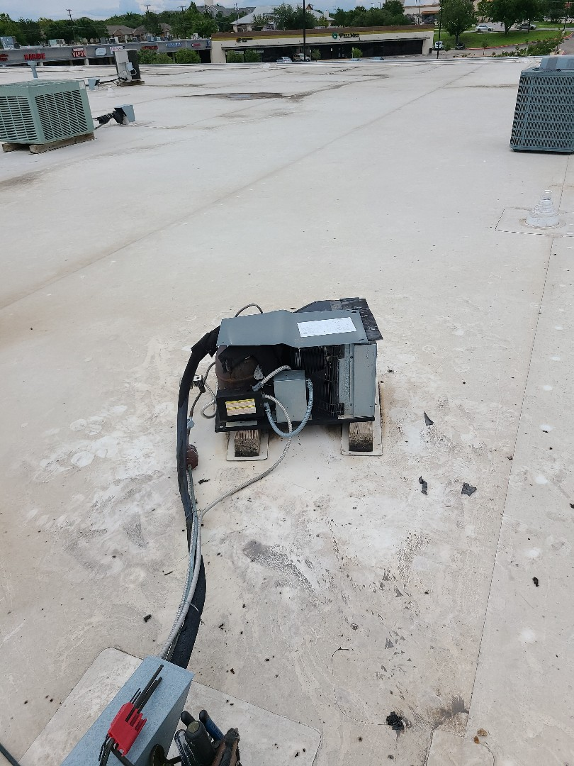 Pflugerville, TX - Replaced condenser fan motor and blade on this wall in cooler at China Garden Pflugerville Tx