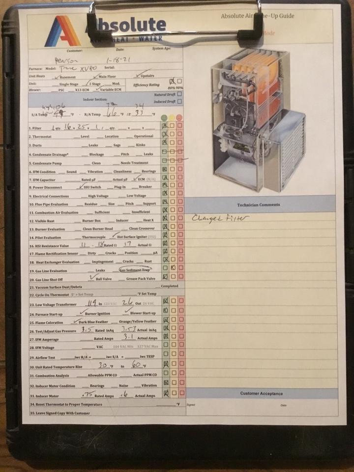 Springville, UT - Trane furnace tuneup
