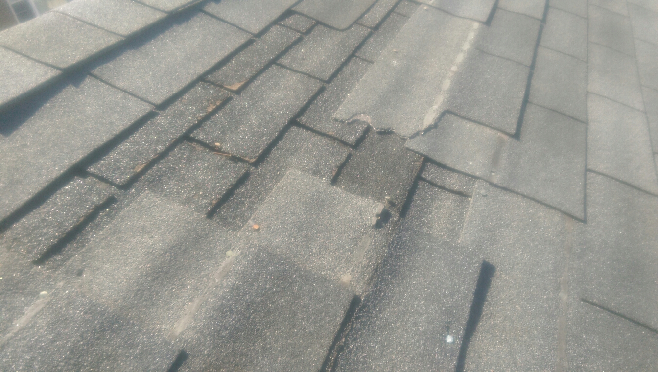 Calumet City, IL - Inspecting damage to shingles from winter weather.
