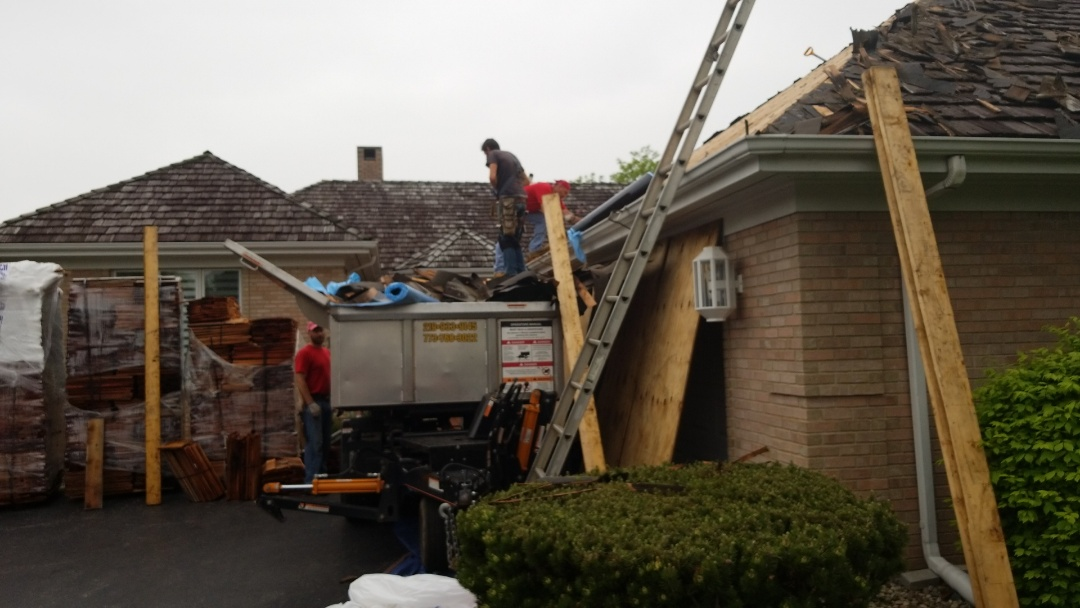Schererville, IN - Installing a new cedar shake roof system.
