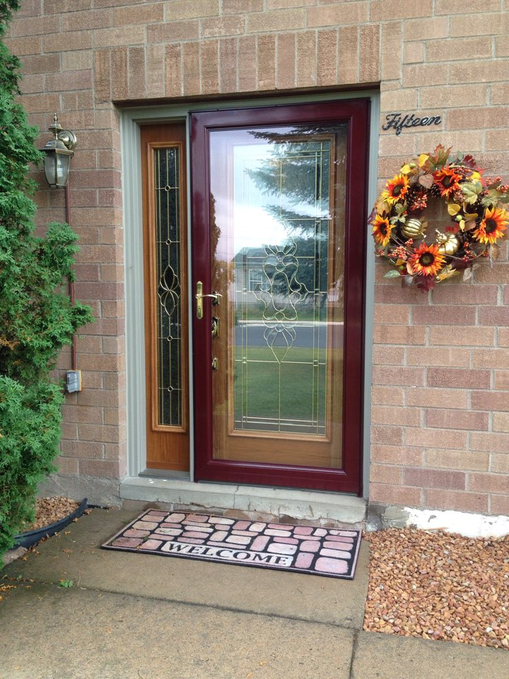 Gilbert, MN - Better day for photo showing new front doors customer loves the look of in Gilbert,MN.