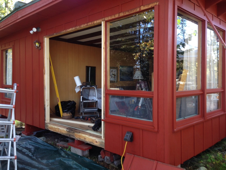 Tower, MN - Opening for new Restorations patio door after removing 2 windows.