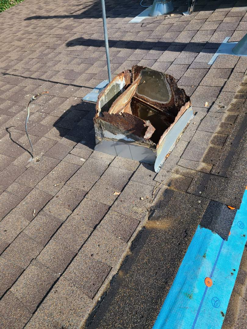 Layton, UT - Remove swamp cooler and tunnel and patch the hole with new 7/16 OSB, ice and water shield and new GAF Timberline Barkwood shingles to match.