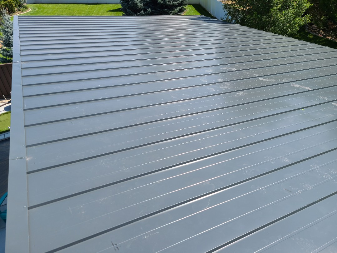 Kaysville, UT - New construction pool house roof done in 26 gauge standing seam metal