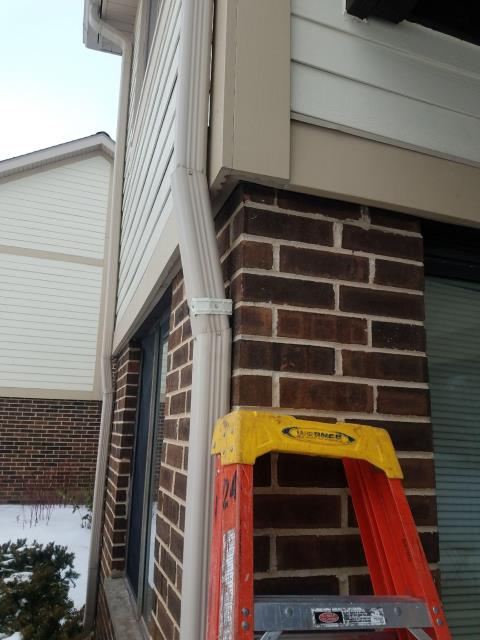 Palatine, IL - Our service team removed and replaced a leaking downspout on the rear of the home.